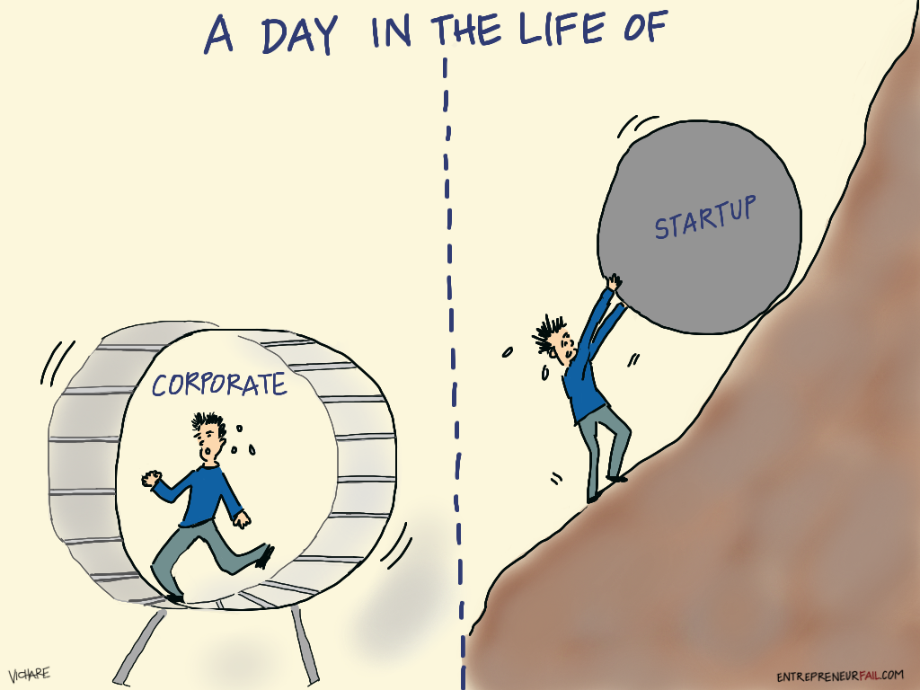 http://www.entrepreneurfail.com/2013/12/a-day-in-life-of-corporate-vs-startup.html