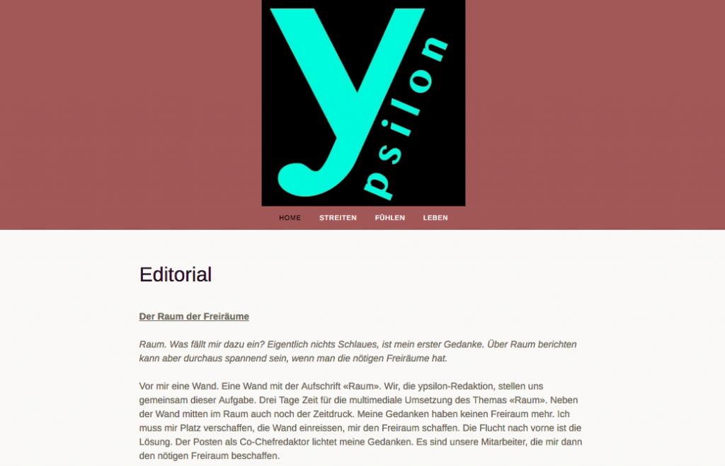 """Startseite des Multimedia-Dossiers """"Raum"""""""