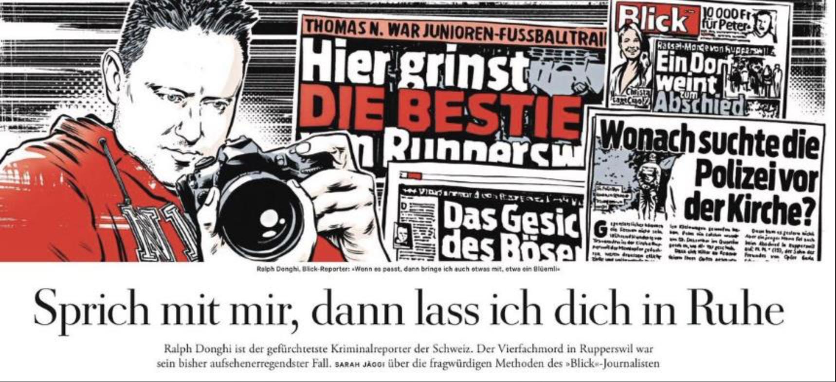Knapp ein Jahr nach dem Vierfachmord in Rupperswil berichtete Die Zeit über  die Arbeitsweise des Blick-Reporters. (Bild: Screenshot)