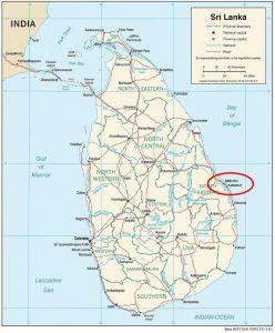 Karte von Sri Lanka mit Kreis um die Ortschaft Batticaloa