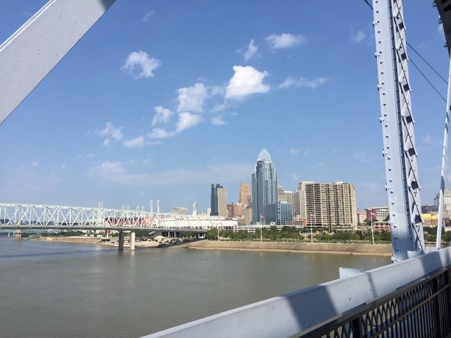 Pedestrian bridge over the Ohio river between Cincinnati and Newport Kentucky