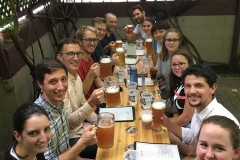 Enjoying a beer with lab mates.