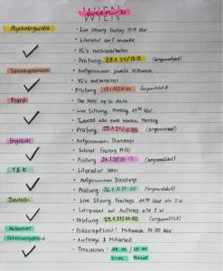 Übersicht meiner Kurse und Organisation für das Homeschooling.