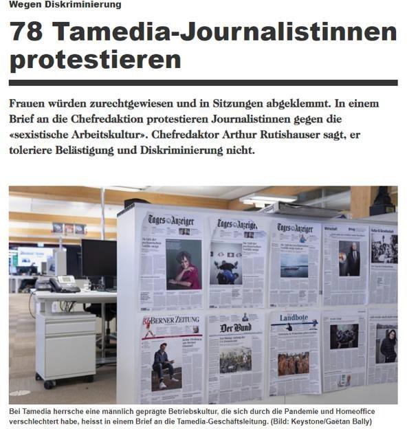 tamedia journalistinnen protestierten