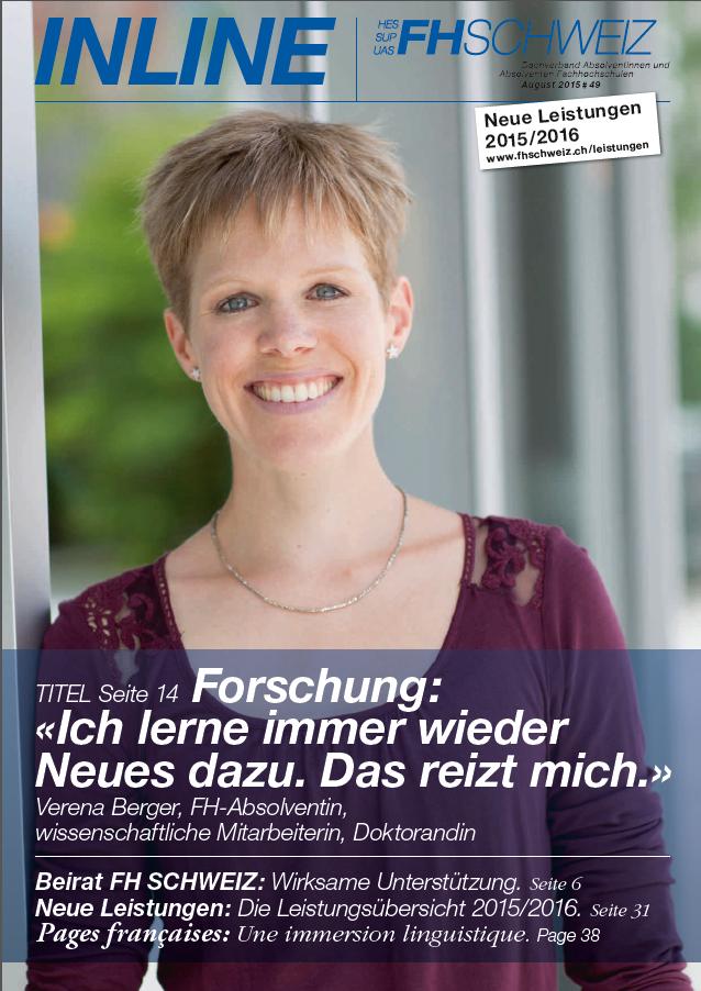 Augustausgabe der INLINE des Dachverbandes FH Schweiz http://www.fhschweiz.ch/de/media/