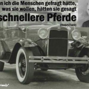altes Auto mit Spruch von Henry Ford