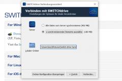 SWITCHdrive Dateien für die Synchronisation auswählen