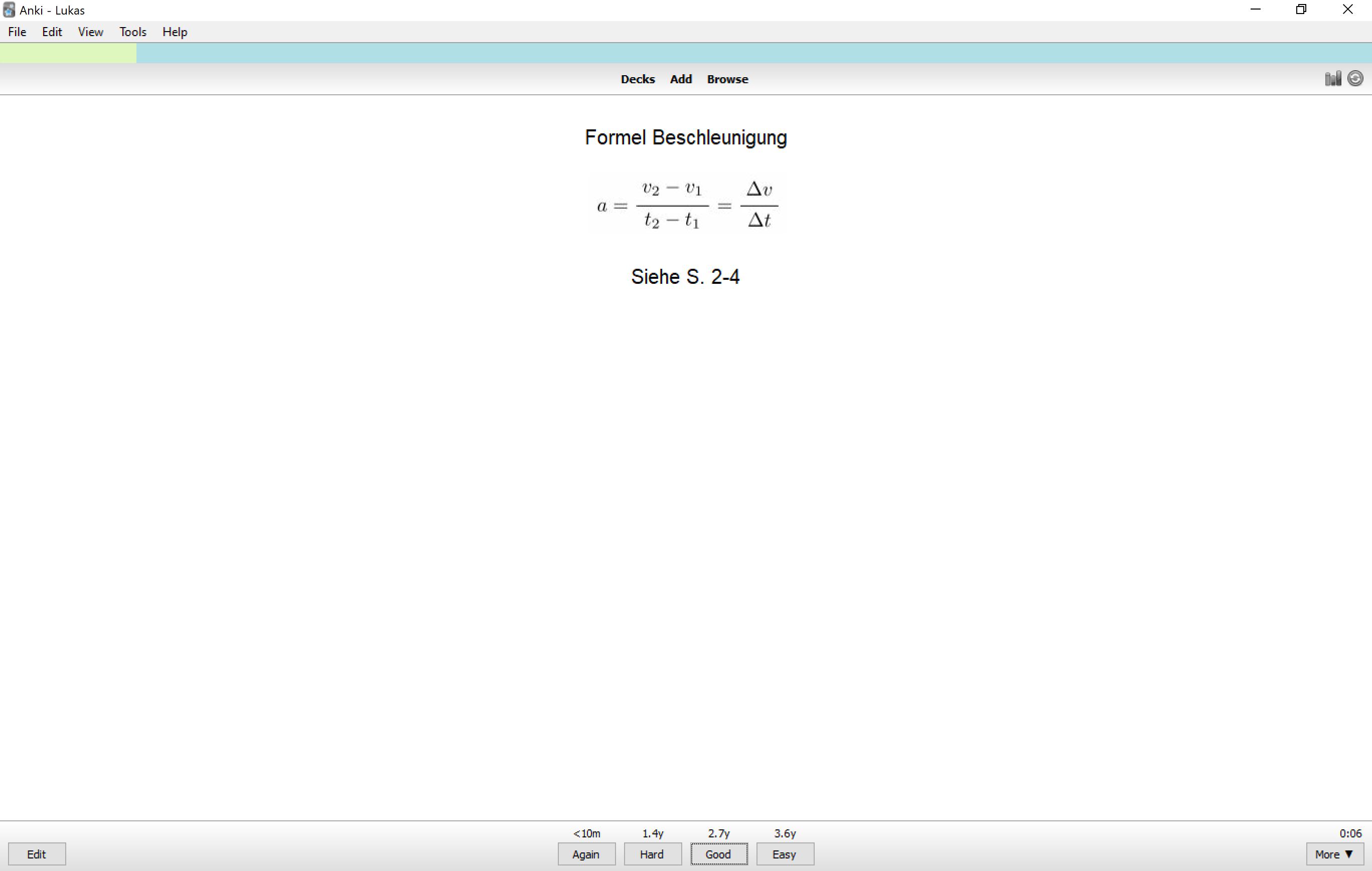 Beispiel einer Lernkarte mit Formel