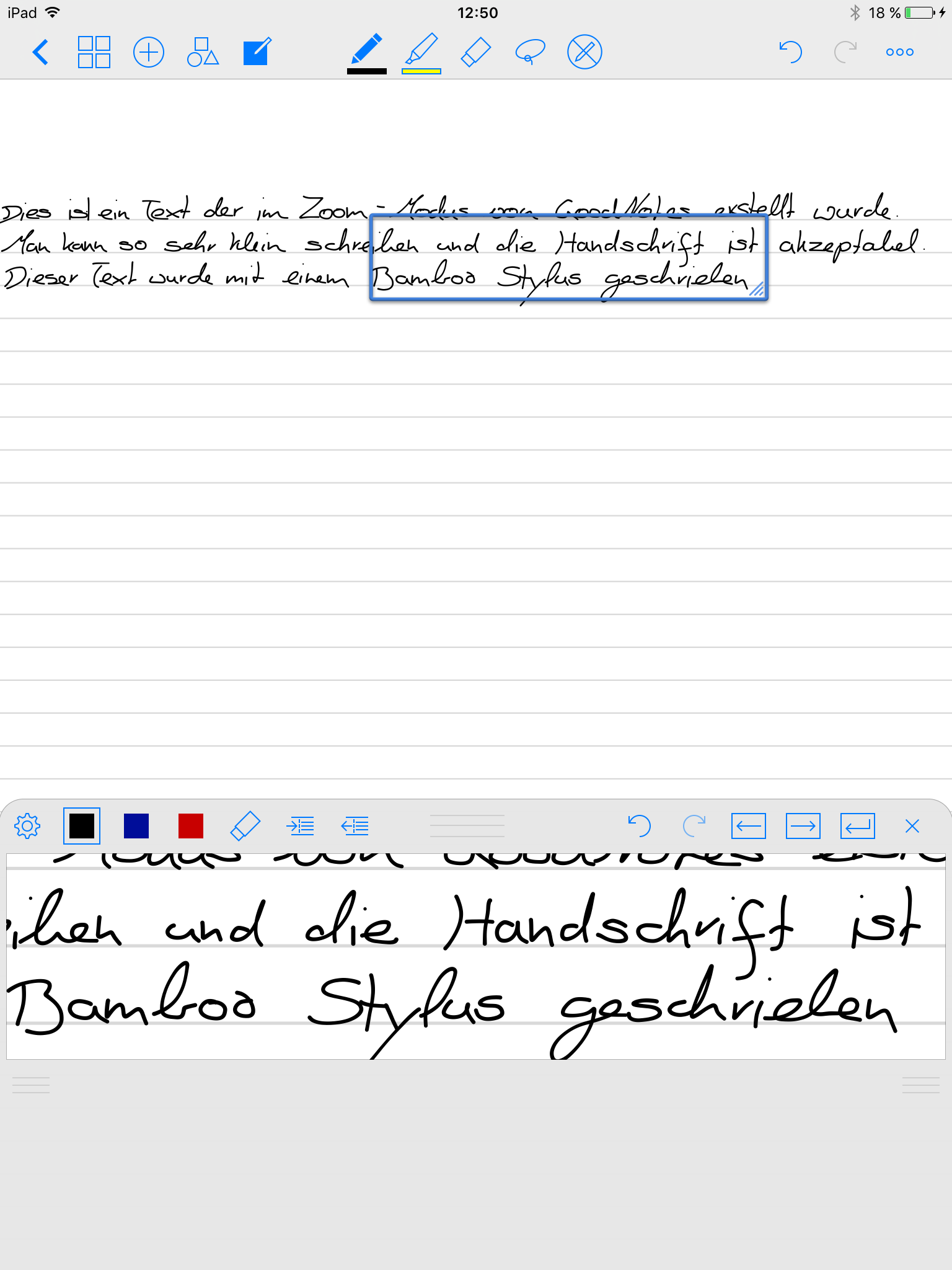 GoodNotes Zoom Modus
