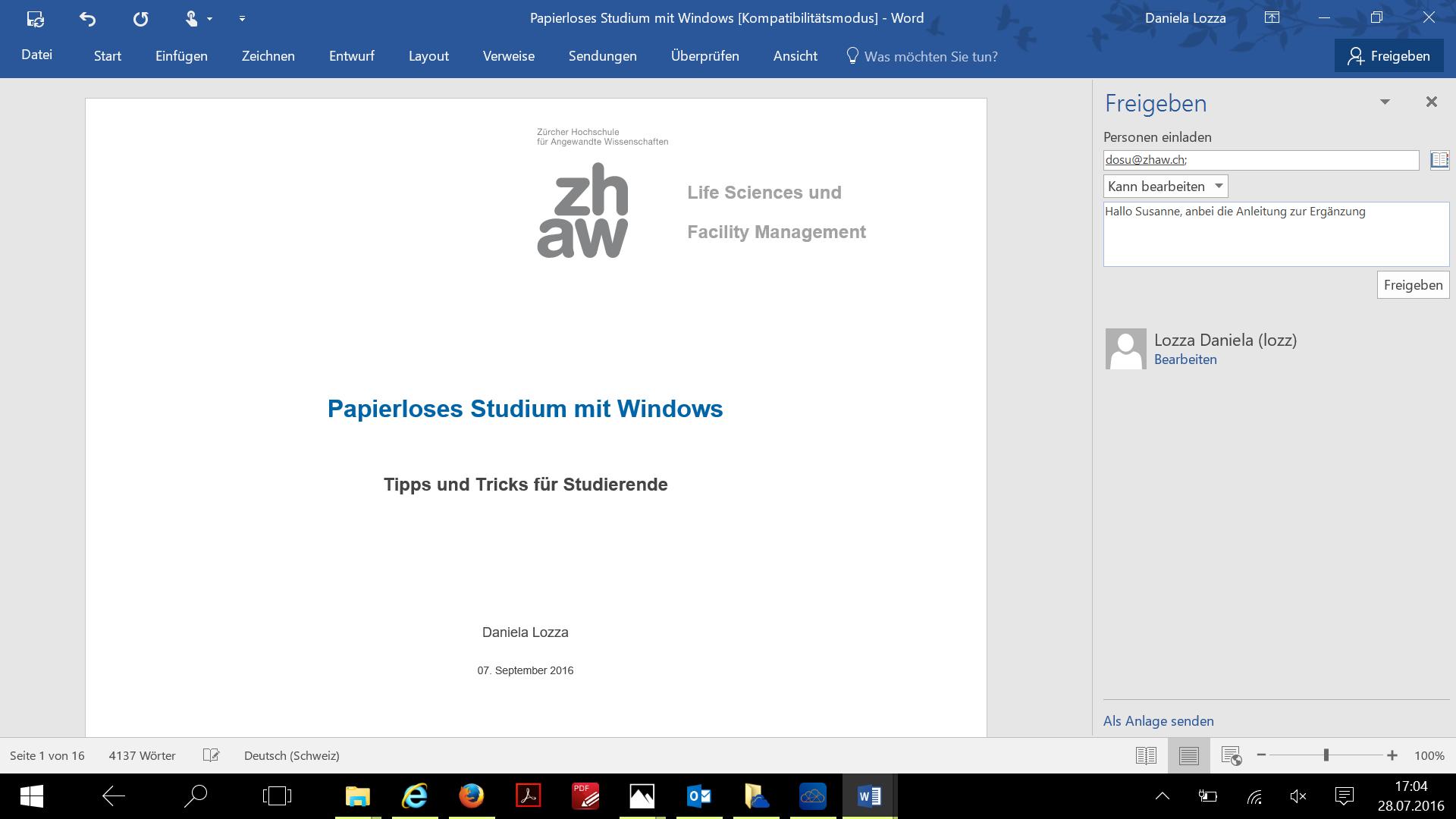 OneDrive Datei in Word freigeben