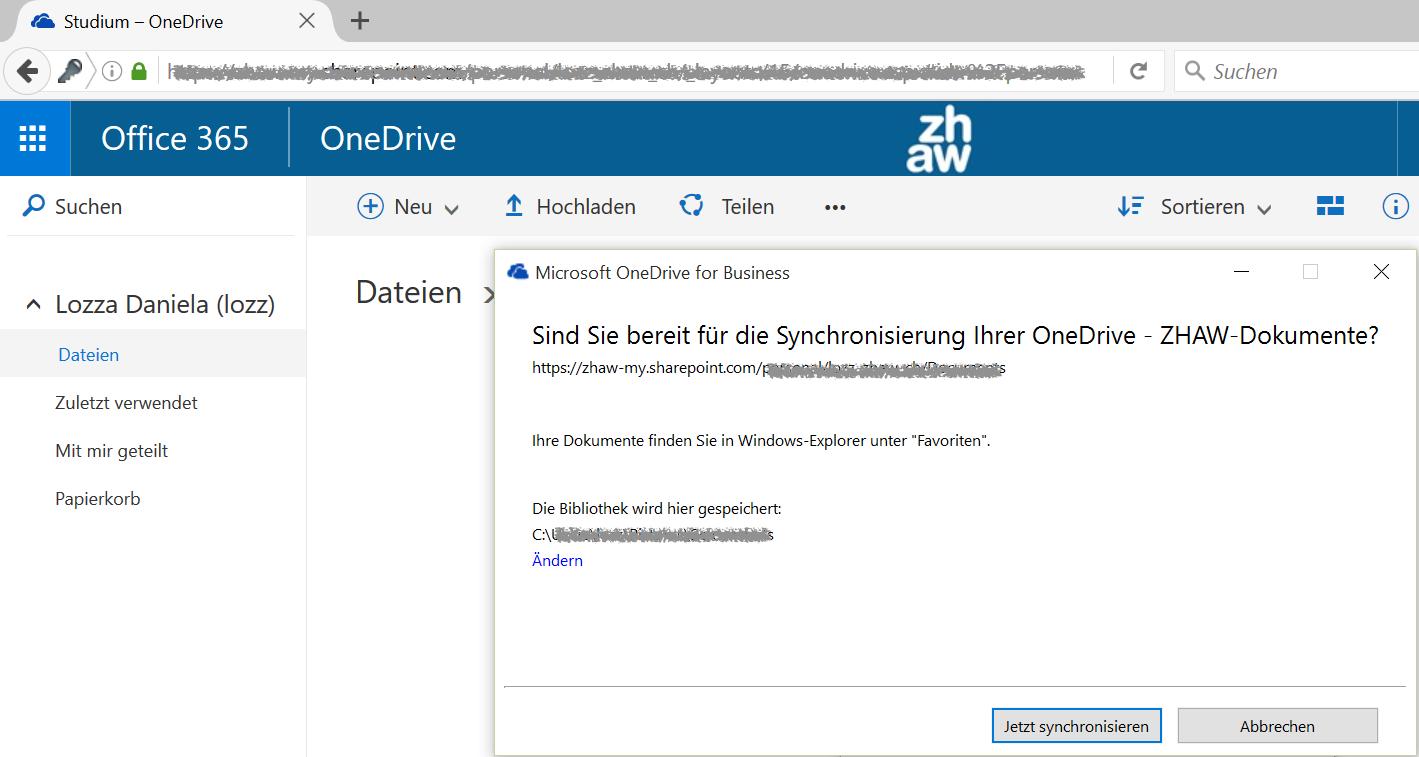 OneDrive for Business synchronisieren