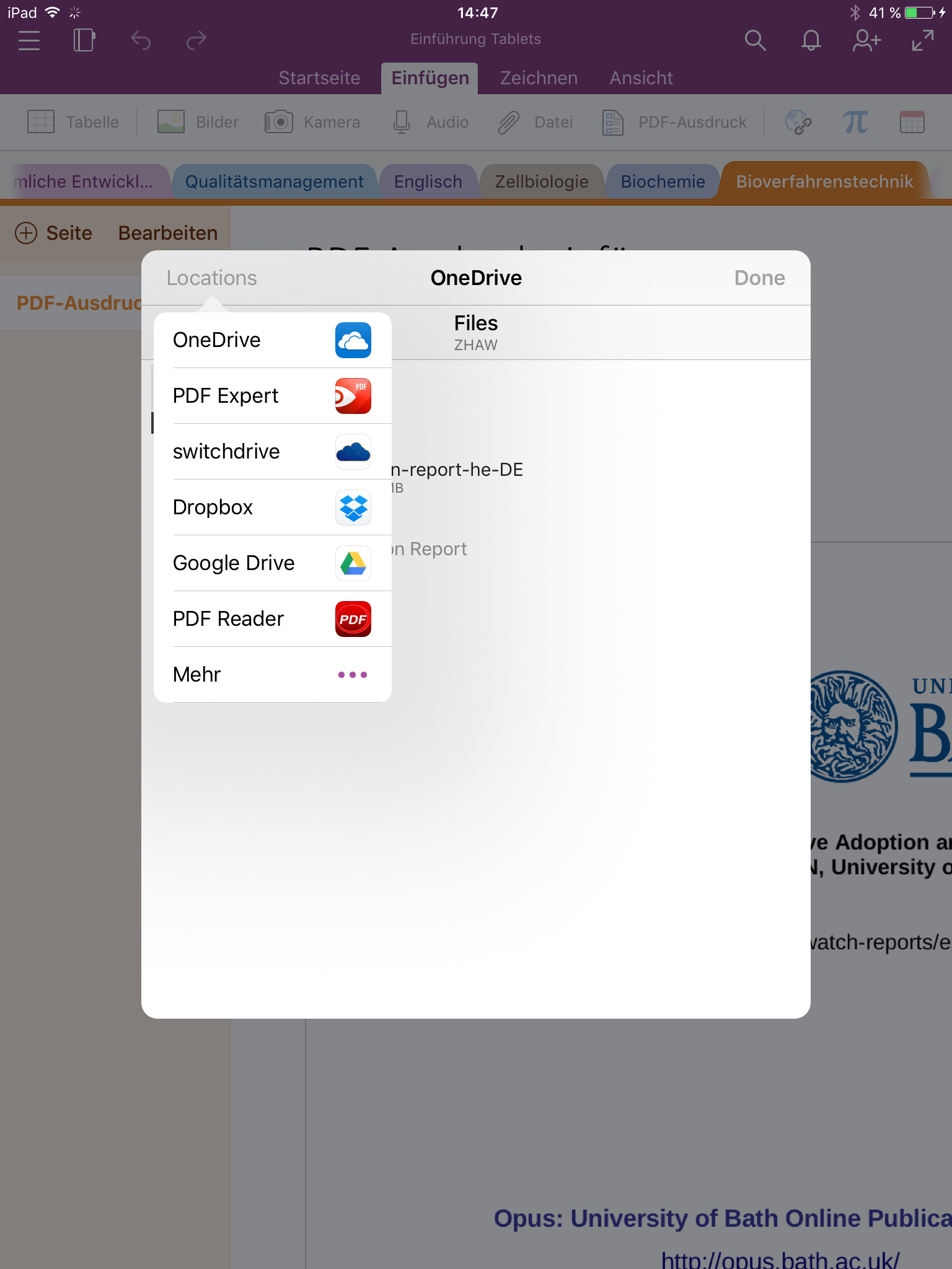 OneNote Datei aus anderer App öffnen