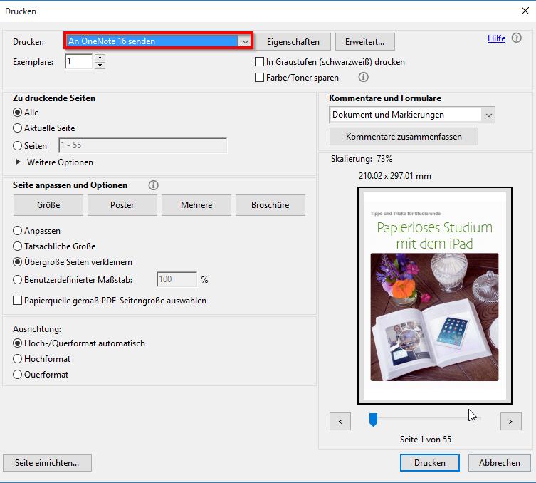 OneNote PDF senden