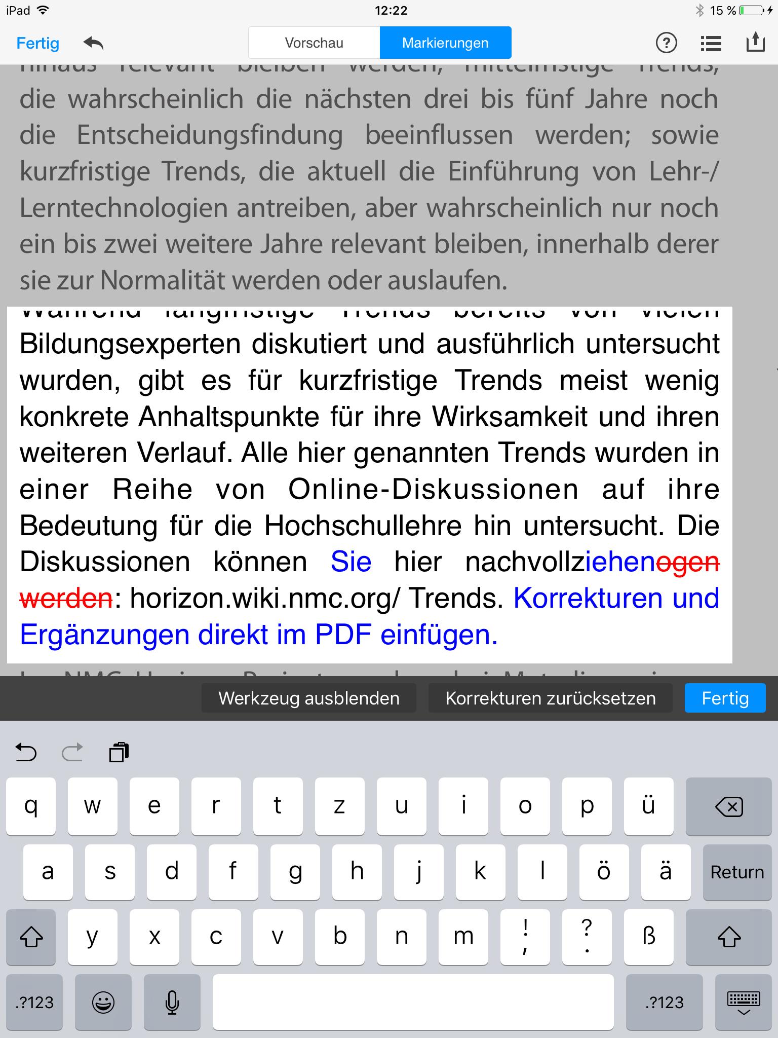 PDF Expert Überarbeitungsmodus