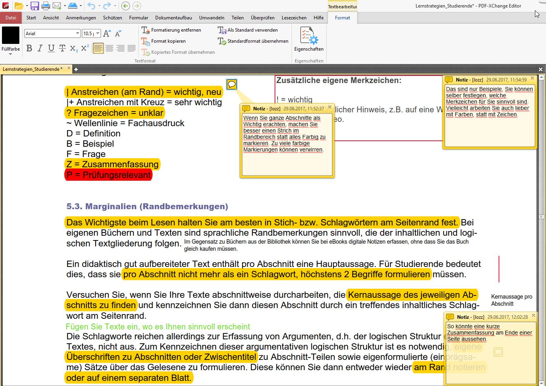 PDF XChange Editor Kommentarfunktionen