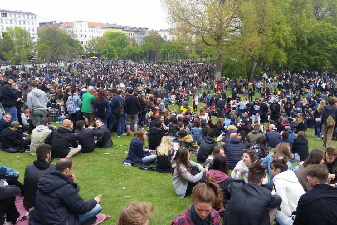 Viele Menschen auf einer Wiese an der 1. Mai-Demo in Berlin Kreuzberg