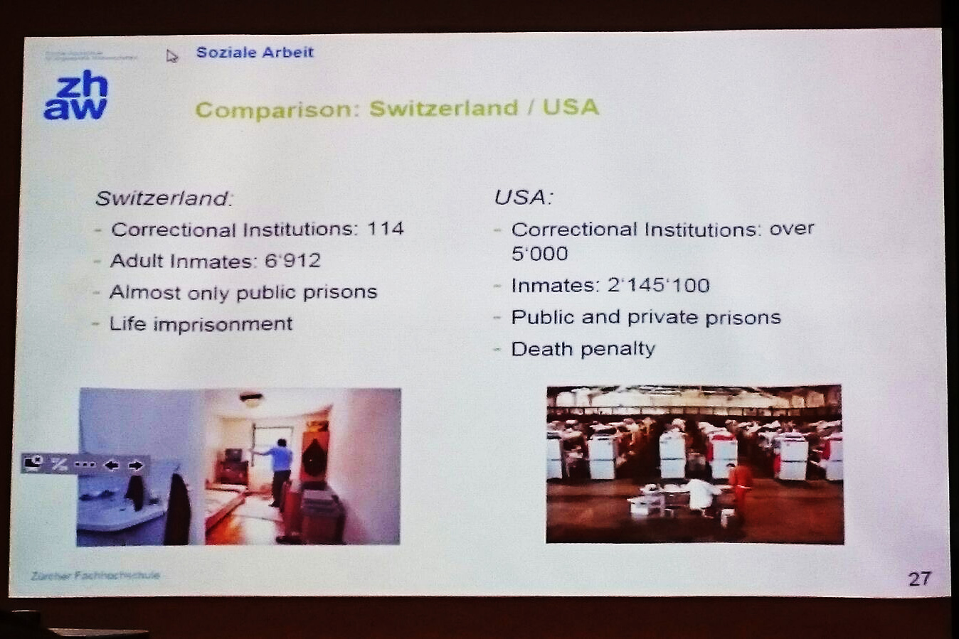 Folie einer Präsentation mit einem Vergleich der Schweiz und der USA im Bezug auf Gefängnisse und ihre Insassen.