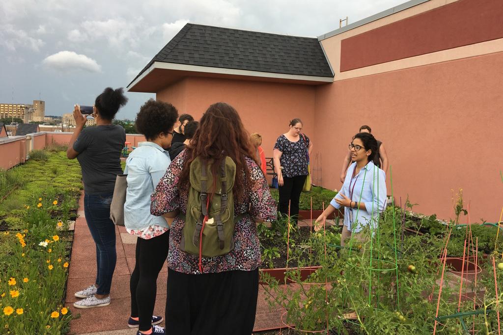Studierende stehen in einem Garten vor einem Haus und betrachten die Pflanzen.