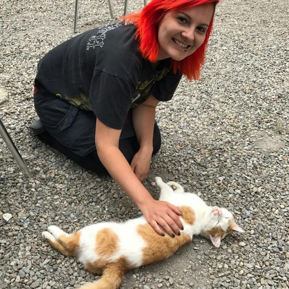Rothaarige Austauschstudentin kniet am Boden und streichelt eine rot-weisse Katze.