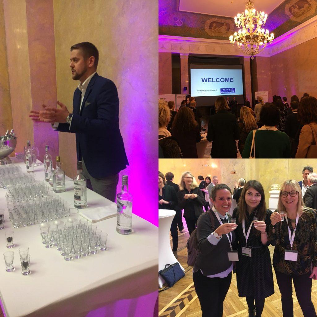Bilderzusammenstellung der Welcome Reception einer Tagung in Warschau.