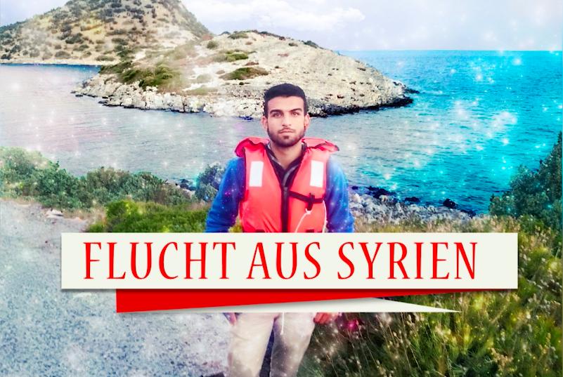 """Flüchtling mit Schwimmweste steht vor einer schönen Bucht. Auf dem Banner auf dem Bild steht """"Flucht aus Syrien""""."""